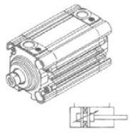 UNIMET - 5 Ø40 RS200 Dişi Milli ISO 6431 KOMPAKT SİLİNDİR-STRONG SERİ